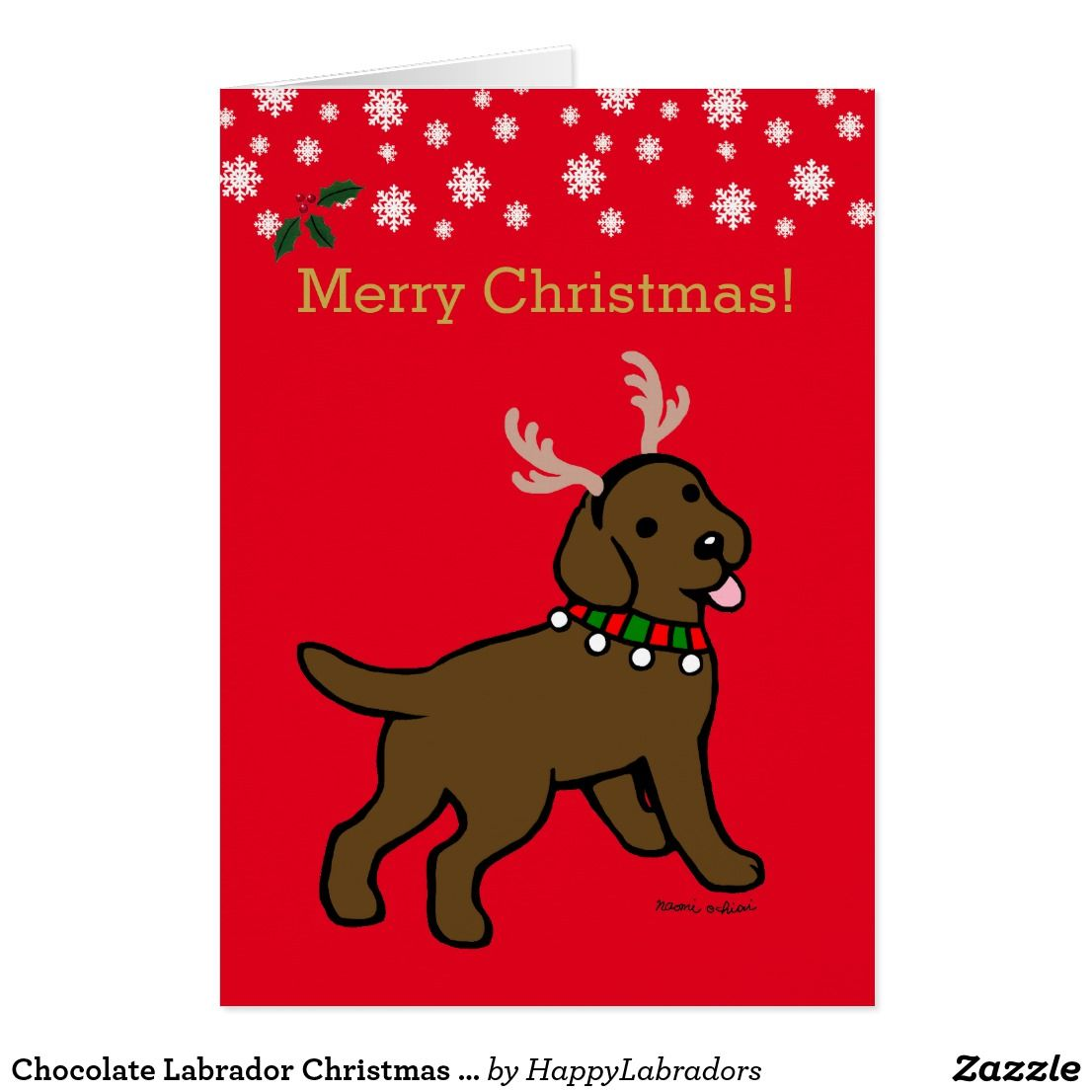 Chocolate Labrador Christmas Antlers Holiday Card   CHOCOLATE LAB ...