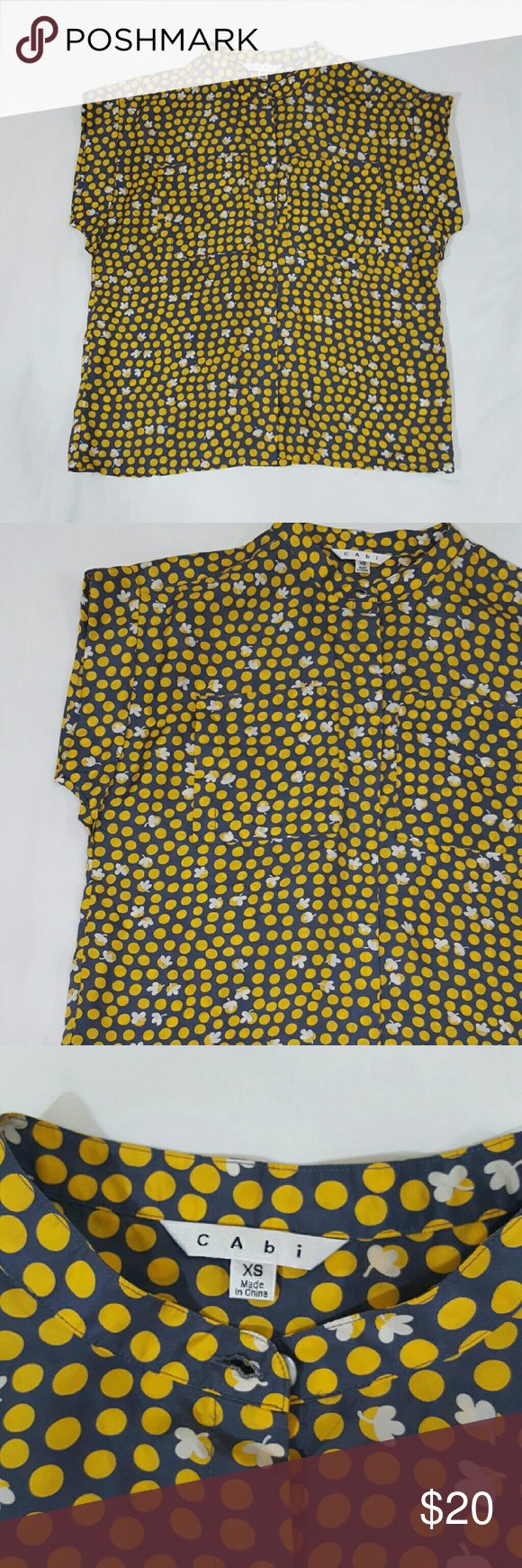 f4f6cbb5e66e48 CAbi Button Front Gray/Yellow Clover Polka Dots XS CAbi women's blouse  button down. Size XS. 100% Silk. Short sleeve. Side pockets. Style#183  Length: 24