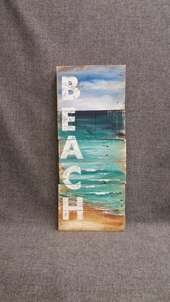Strand Wortzeichen, handgemacht, Hand bemalt Zeichen Seelandschaft mit Strand, Hütte, Upcycled, Wandkunst, Distressed, Shabby Chic