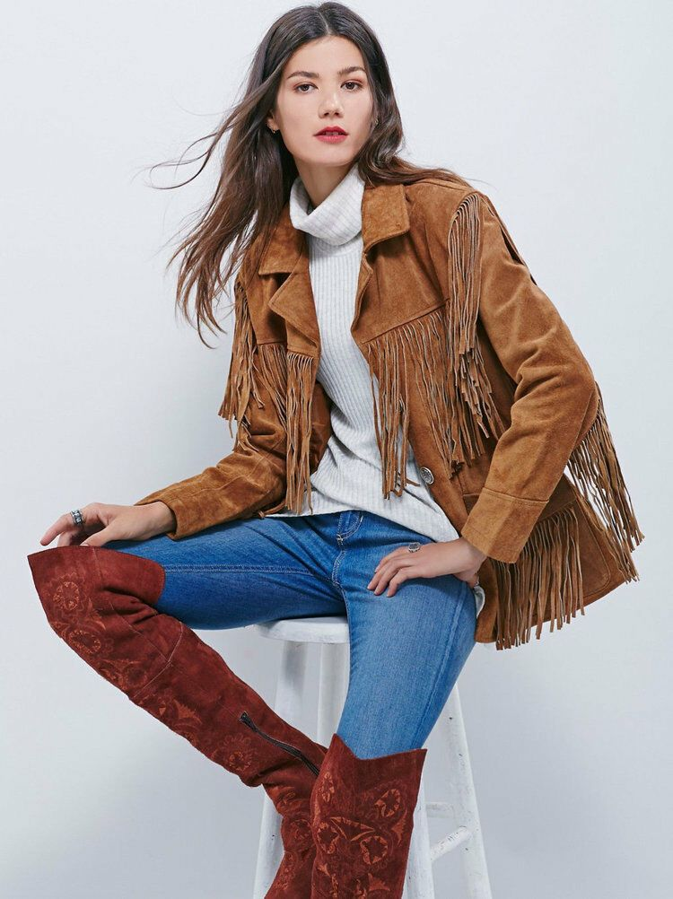 Women's Brown Color Western Style Fringed Coat Suede