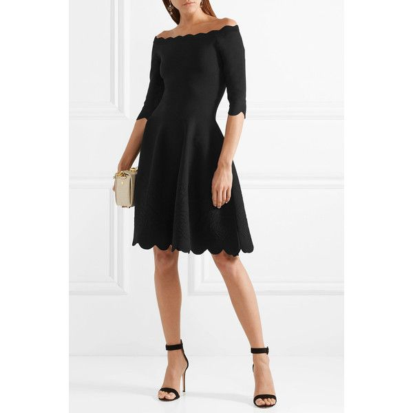 Off-the-shoulder Scalloped Stretch-jacquard Dress - Black Alexander McQueen ZfeKIhe4
