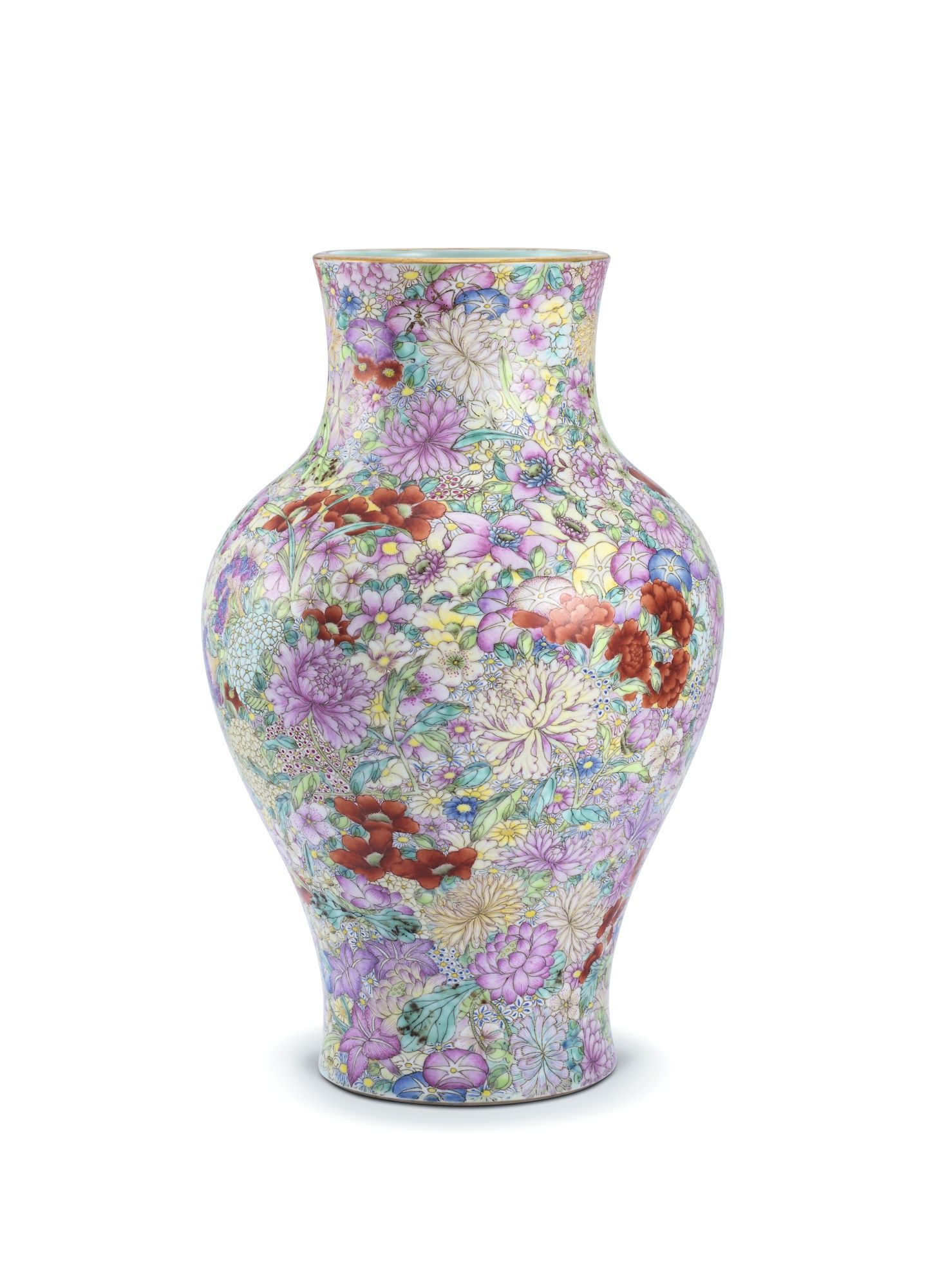 A famille rose mille fleurs vase qing dynasty 19th century with a famille rose mille fleurs vase qing dynasty 19th century with a baluster body rising to a rounded shoulder and waisted neck the exterior delicately reviewsmspy