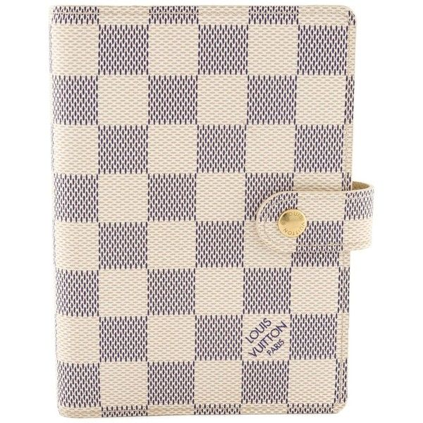 Louis Vuitton Vintage 'Damier Azur' diary cover ($845) ❤ liked on Polyvore featuring bags, white, white leather bag, real leather bag, leather bags, louis vuitton bags and white bags
