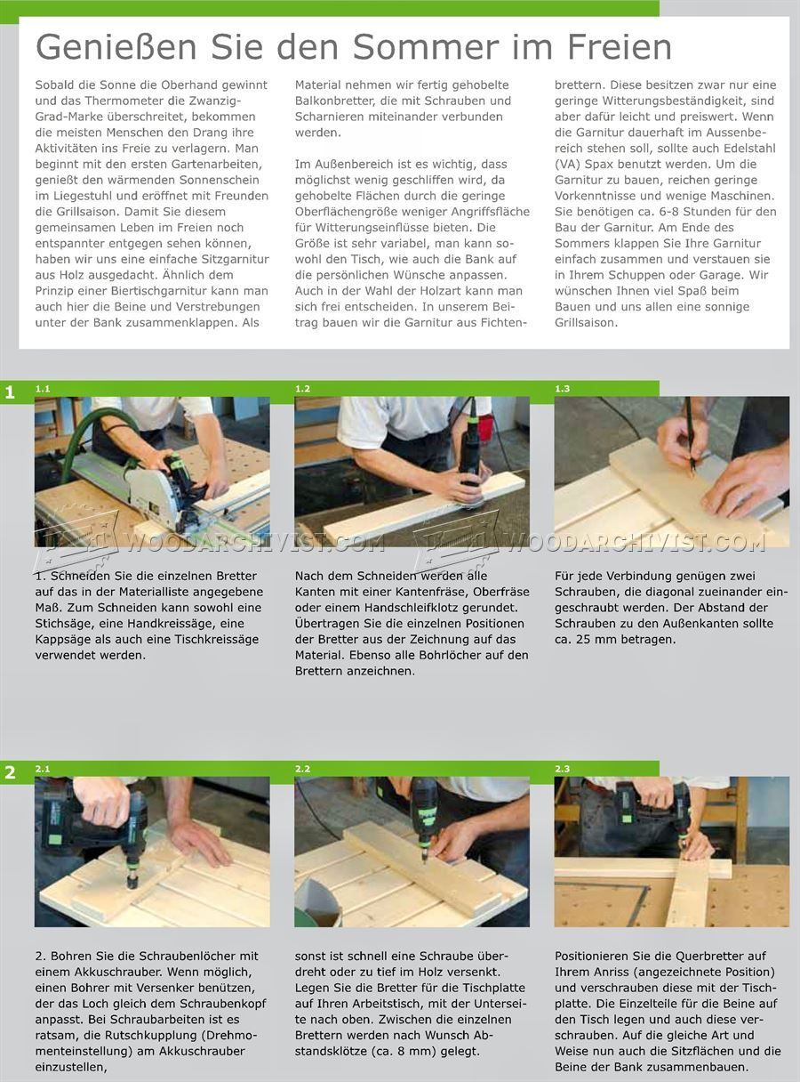Folding Picnic Table Plans - Outdoor Furniture Plans | Intarsia ...