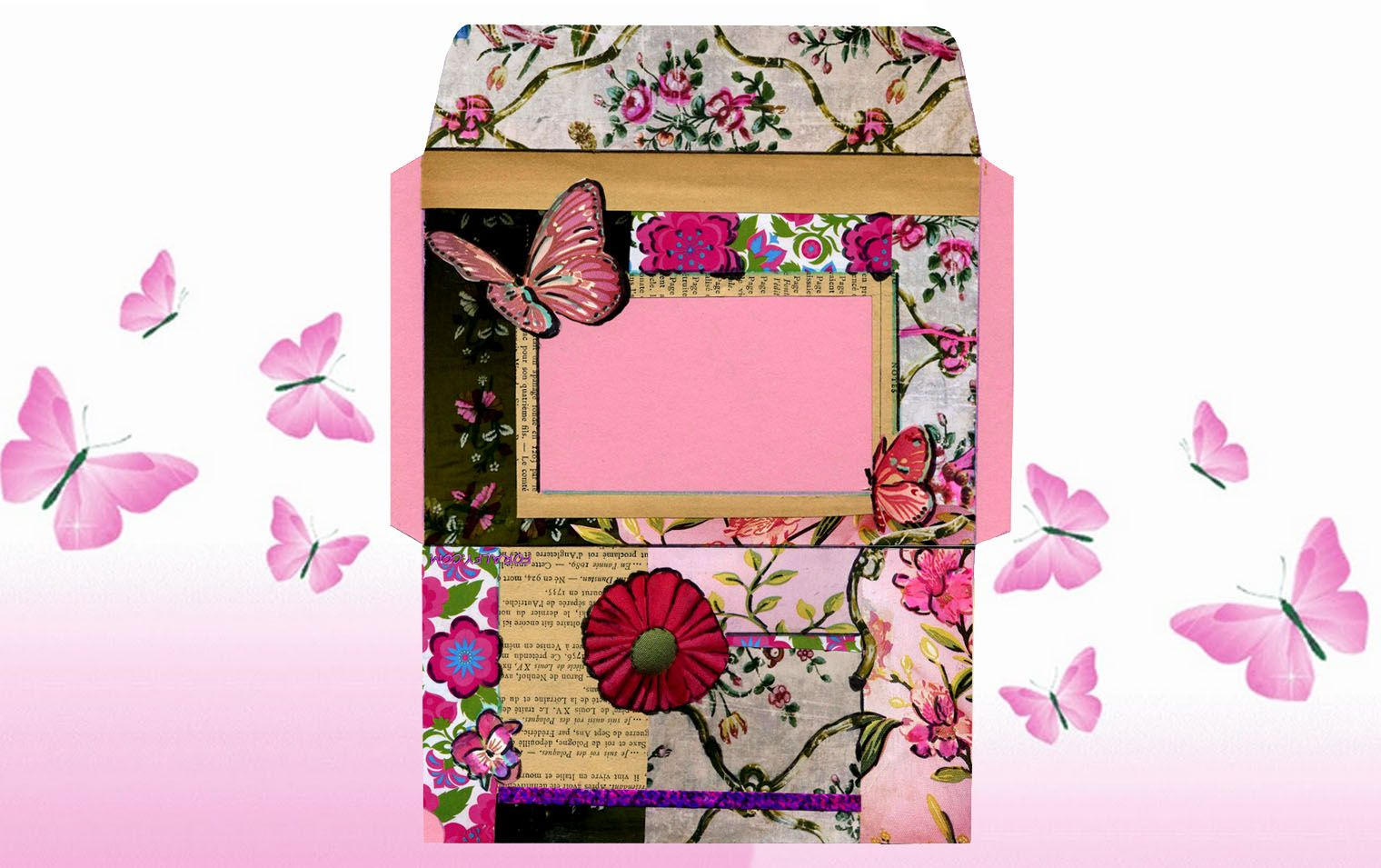 Butterfly and flower free printable envelope printable