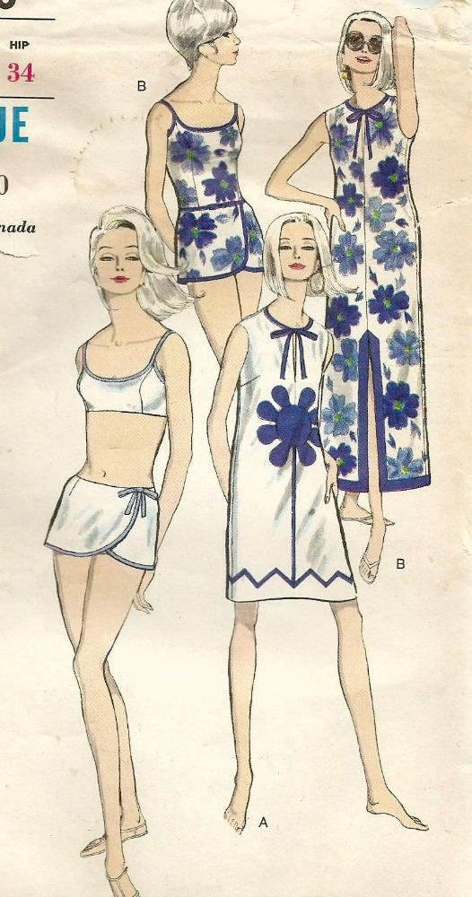 Vintage 60s Vogue 6490 Misses Beach Dress Sarong Skirt | 1960s ...