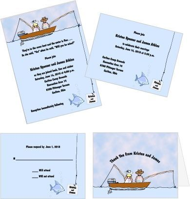 In The Same Boat Fishing Themed Wedding Invitations