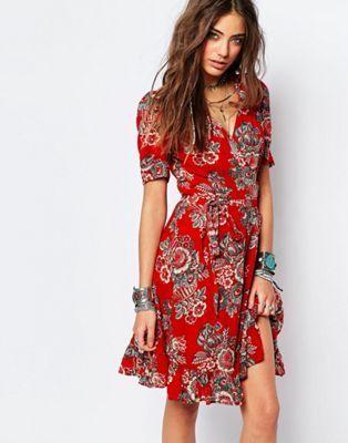 denim supply by ralph lauren floral wrap tea dress alltagskleider pinterest. Black Bedroom Furniture Sets. Home Design Ideas