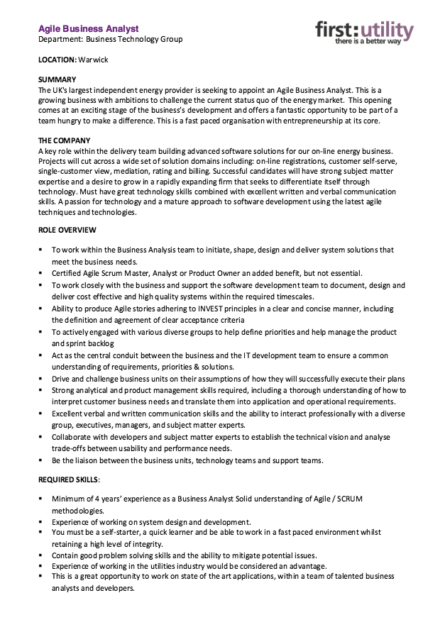 Agile Business Analyst Resume Skills  HttpResumesdesignCom