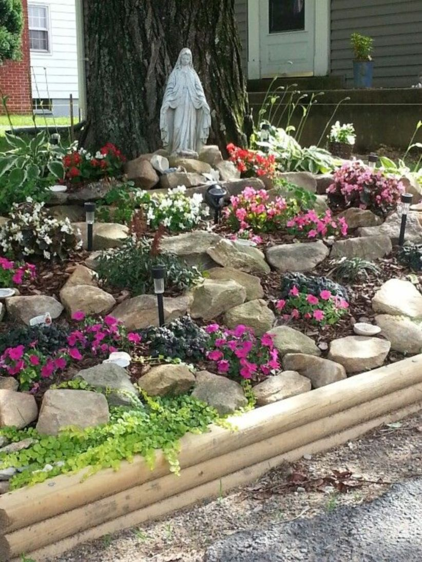 48 Simple Rock Garden Decor Ideas For Your Backyard is part of Rock garden landscaping, Rock garden design, Diy herb garden, Marian garden, Garden, Backyard garden - If you want to beautify your front or backyard, raise your property value or just need a spot to relax and escape the pressures of daily life, consider to make a rock garden  Rock gardening is the best thing that you need, easy to make and does not require much work  You can design it to be any shape and size or as simple or elaborate as you'd like  You can also create a beautiful rock garden by adding flowers, foliage, ponds, waterfalls, and of course, rocks