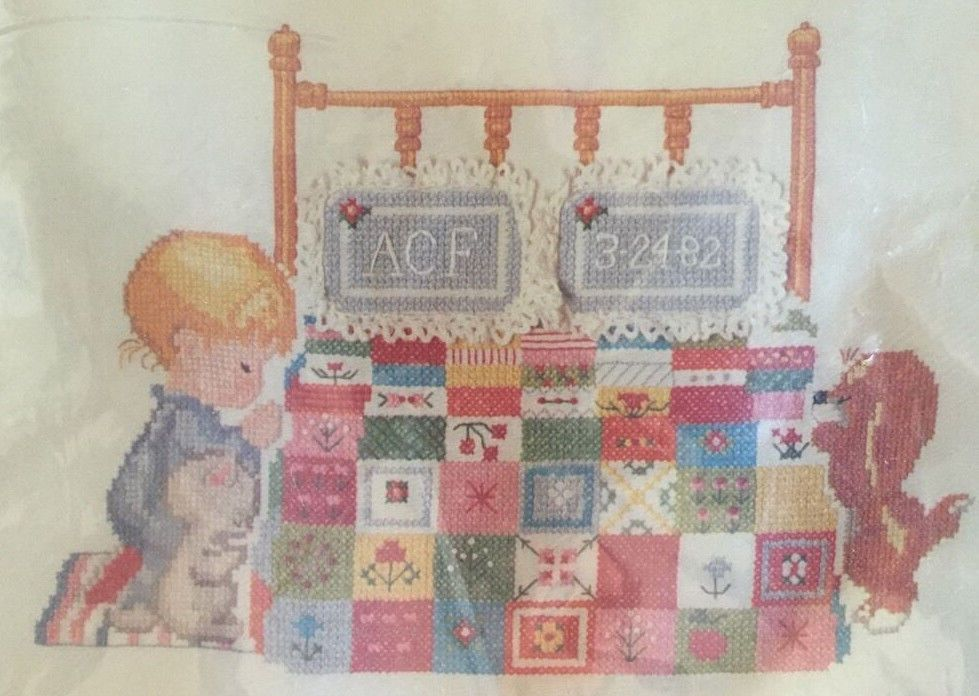 "Adorable ""Baby Prayer Patchwork Sampler"" cross stitch kit by Ruth Morehead vintage 1982 and unopened!"