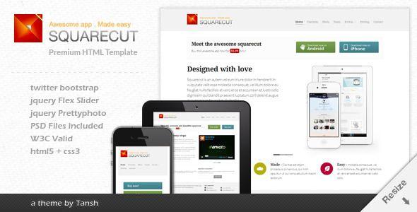 Squarecut Responsive Landing Page template | Mobile responsive