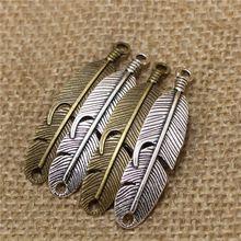 20 unids 11 * 46 mm encantos de plumas conector para pulseras antiguas de Metal de aleación de Zinc moda hallazgos conector joyería D0542(China (Mainland))