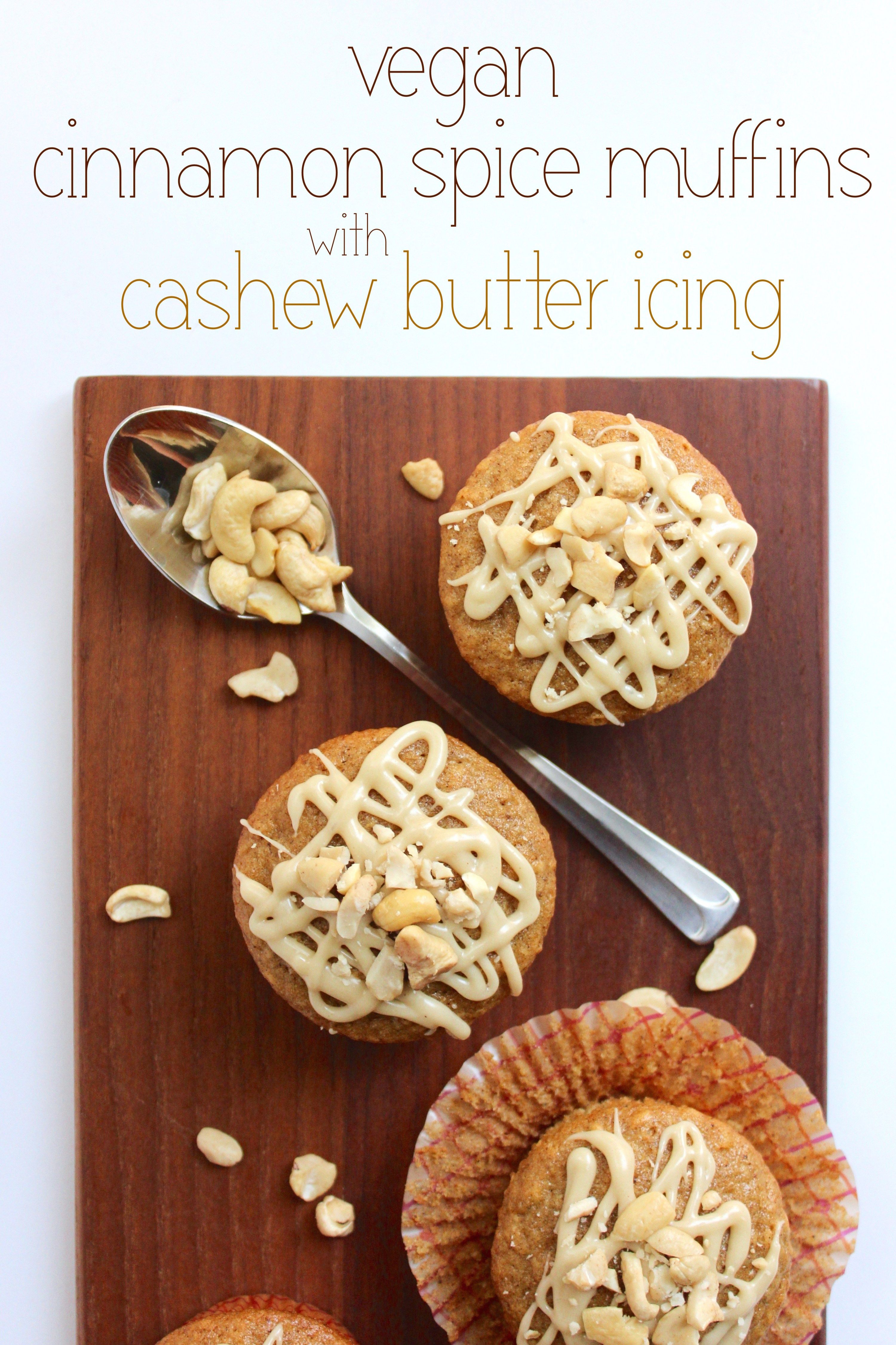 Vegan Cinnamon Spice Muffins with Cashew Butter Ic