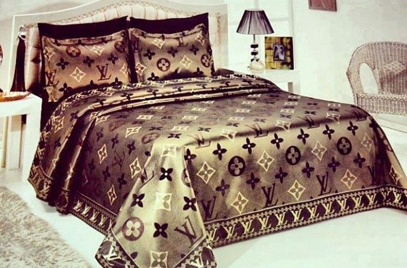 louis vuitton lv bettw sche g nstig billig gut preiswert king size seide baumwolle bed set 6. Black Bedroom Furniture Sets. Home Design Ideas