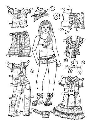 Karen`s Paper Dolls: Marianne 1-6 Paper Doll to colour. Marianne 1-6 påklædningsdukke til at farvelægge.