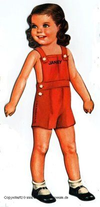 JANEY Puppenkind mit dunklen Augen Anziehpuppe Papierpuppe ausgestanzt Queen Holden Reprint von 1920