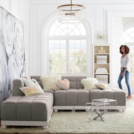 Baldwin Cushy Super Sectional Set Light Grey Suede New House