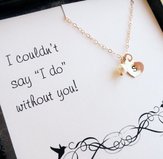 Be My Bridesmaid card with Personalized Necklace, Bridesmaid gift set, Simple initial necklace with freshwater pearl. Great bridesmaid gift idea!