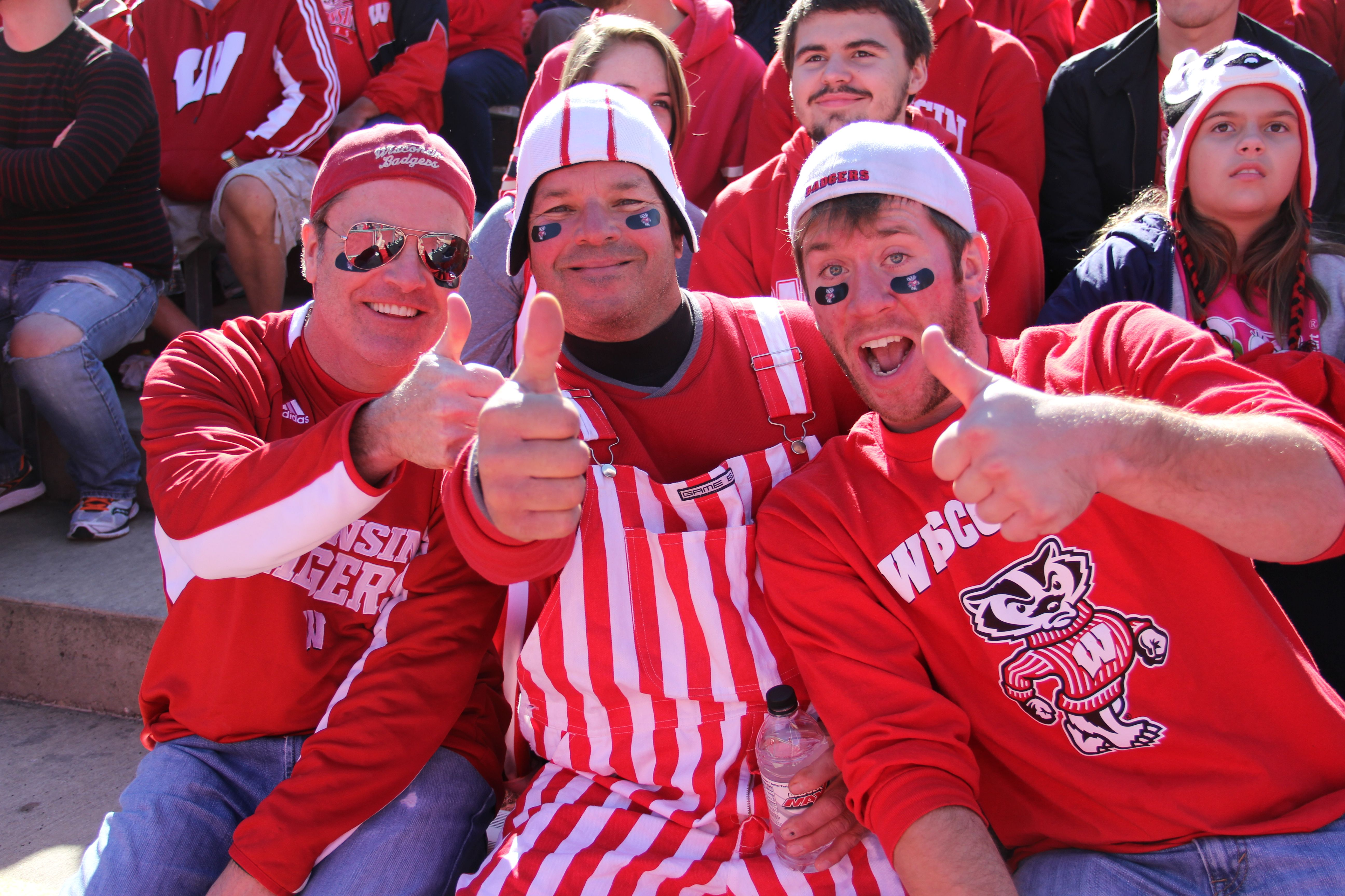 Badger fans at Wisconsin vs. Illinois football game Oct