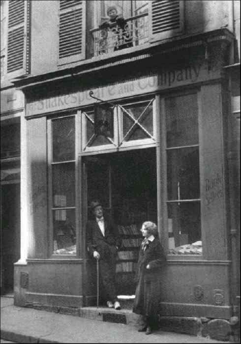 Shakespeare and Company--James Joyce and Sylvia Beach in the doorway.