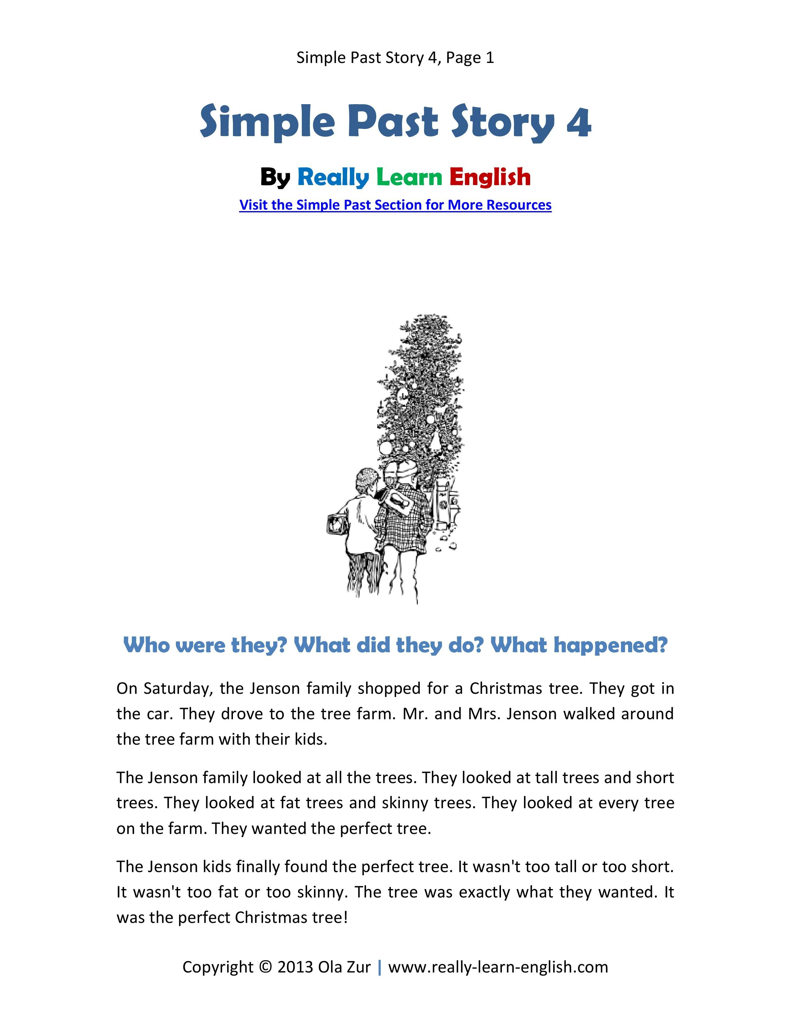 Practice The Simple Past Tense Free Printable Short