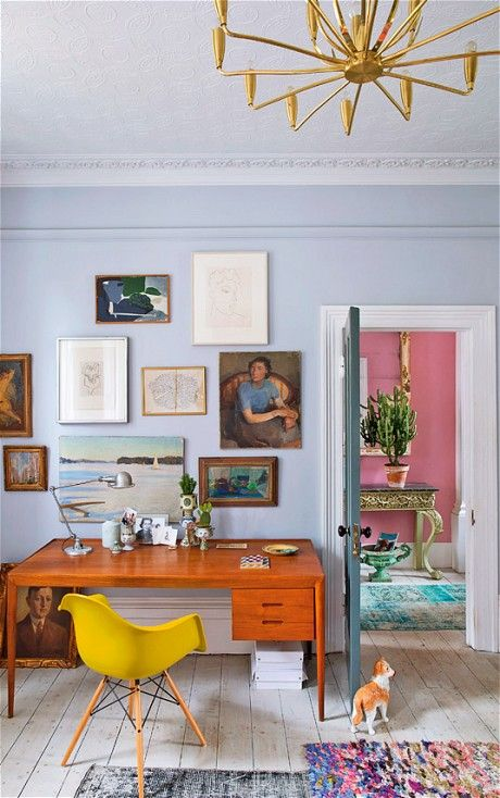 The home of Mark Homewood: a bright, colour-drenched villa in south London - we love the mustard Eames DAW! http://www.nest.co.uk/product/vitra-daw-eames-plastic-armchair Image via the Telegraph.