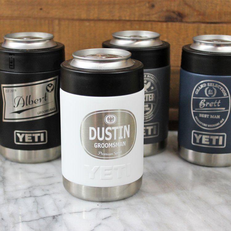 YETI Colster with Craft Groomsmen Wedding Label – Rambler Vacuum Insulated Stainless Steel – Personalized Groomsmen Gifts, Best Man, Usher