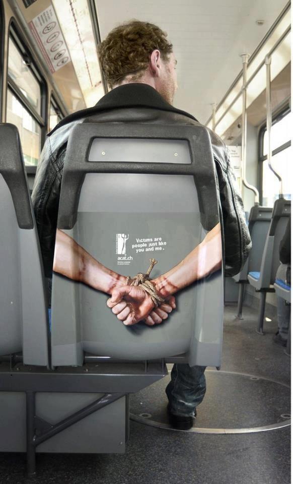 A Creative Bus Seat Advertisement Guerrilla Advertising