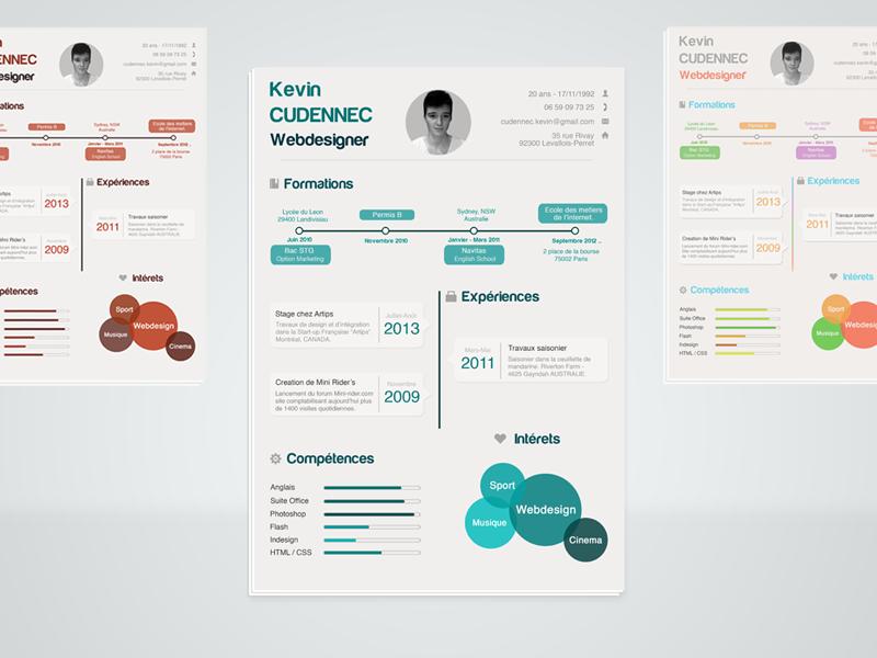 Plantilla PSD gratis para curriculum vitae estilo infografía ...