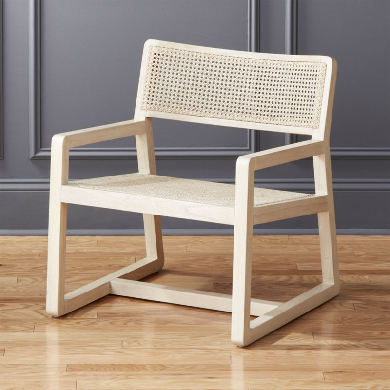 Shop Makan White Wood And Wicker Lounge Chair Designed By David
