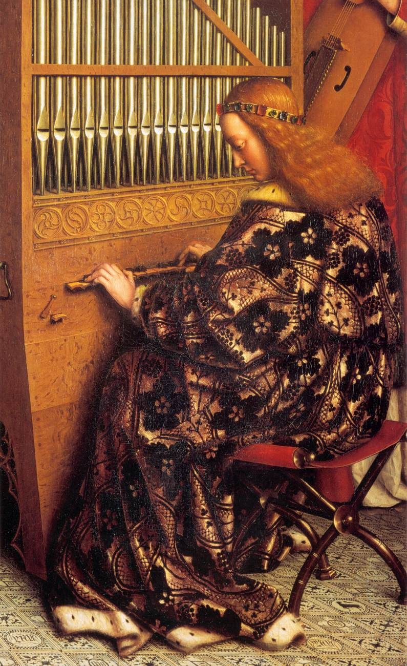 Hubert and Jan van EYCK / The Ghent Altarpiece with wings open (upper section) / Angels Playing Music (detail) 1426-27 Oil on wood Cathedral of St Bavo, Ghent