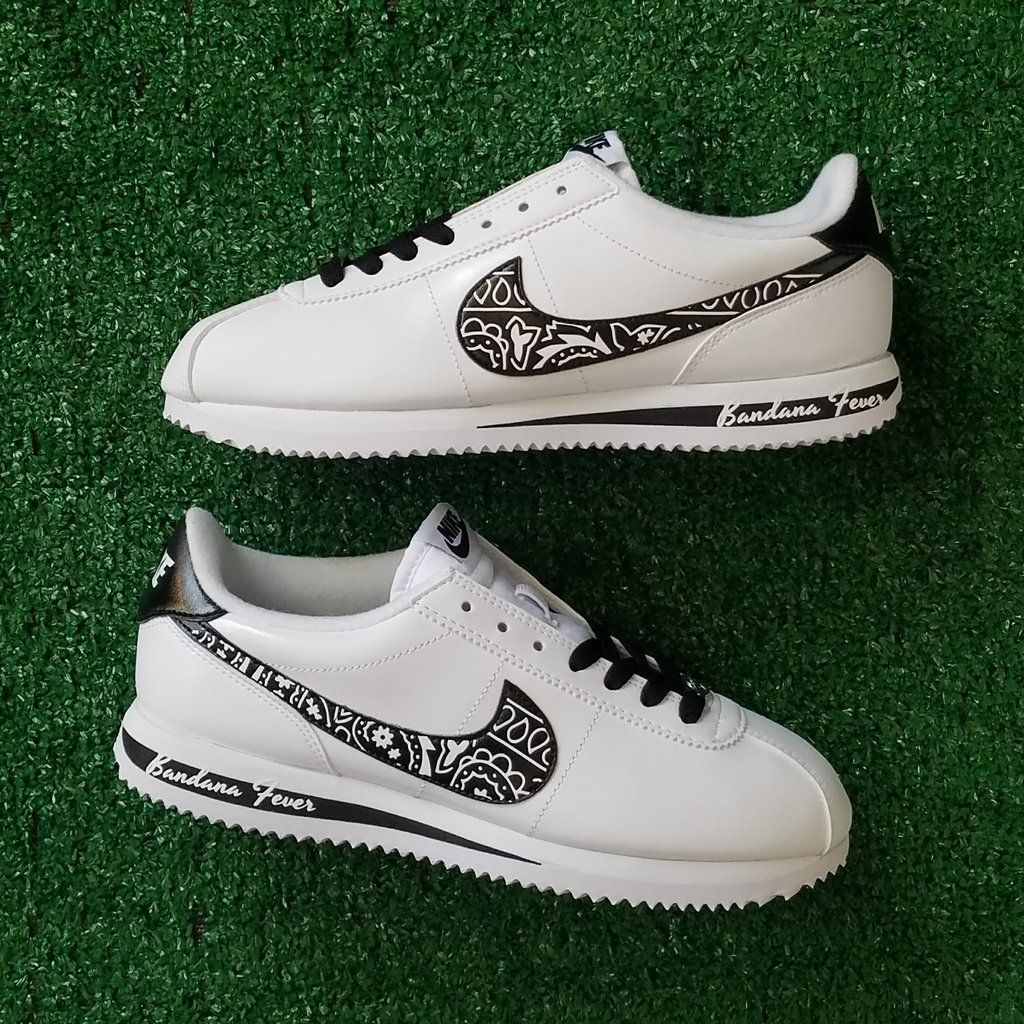 Customized Nike Sneakers, Men's, White Leather, Bandana ...