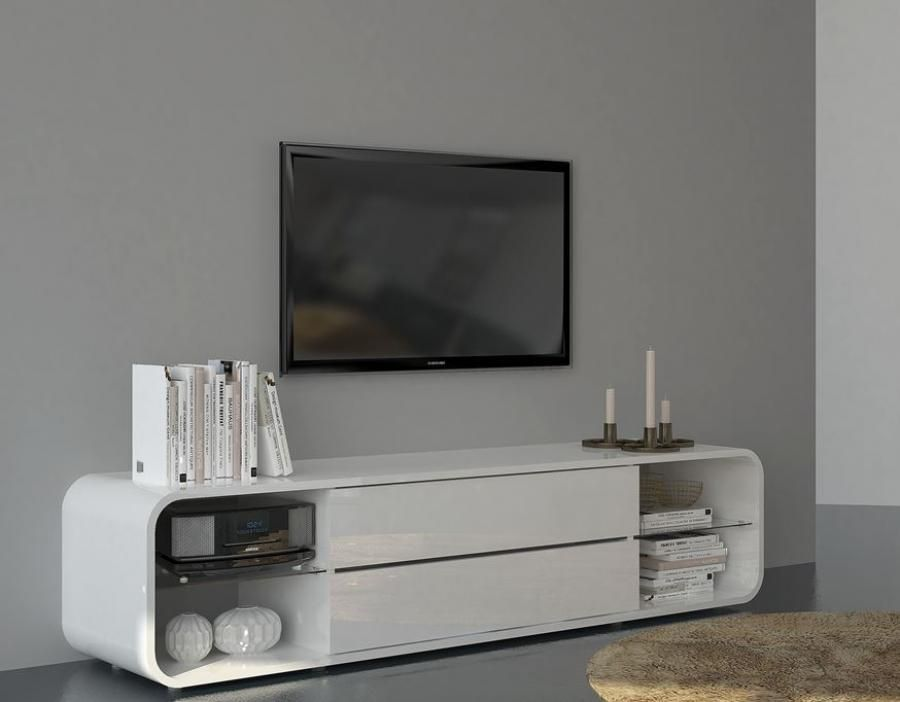 White Tv Media Unit Part - 24: Viper, Modern Curved TV Cabinet With Drawers In White Gloss Finish, Lights  Included