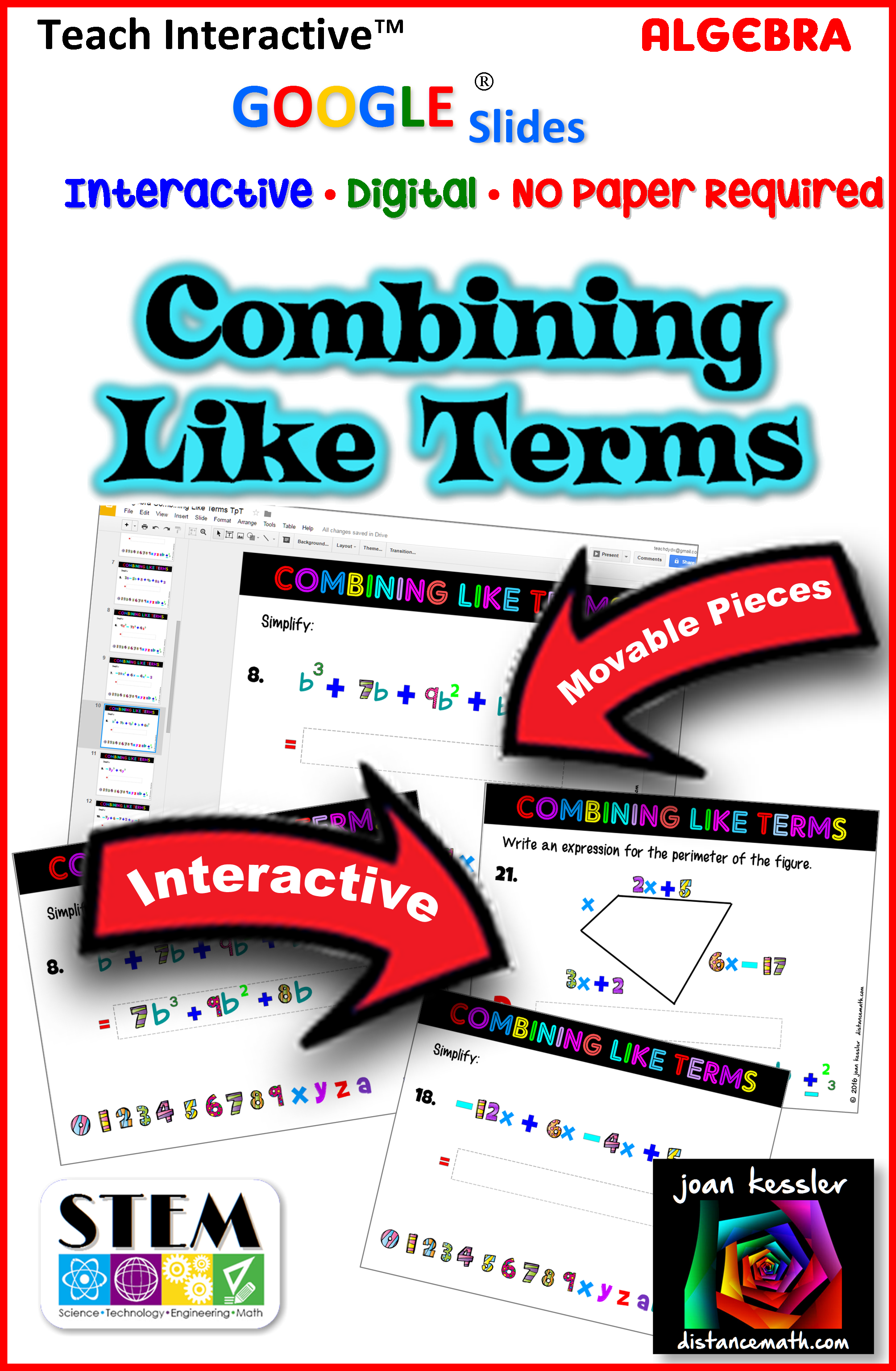 Combining Like Terms Interactive Fun With Slides Drag Amp Drop