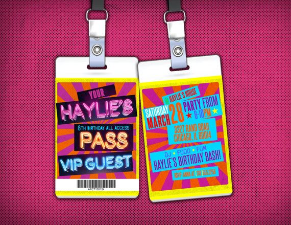 Retro, neon, VIP PASS, backstage pass, concert ticket, birthday - invitations that look like concert tickets