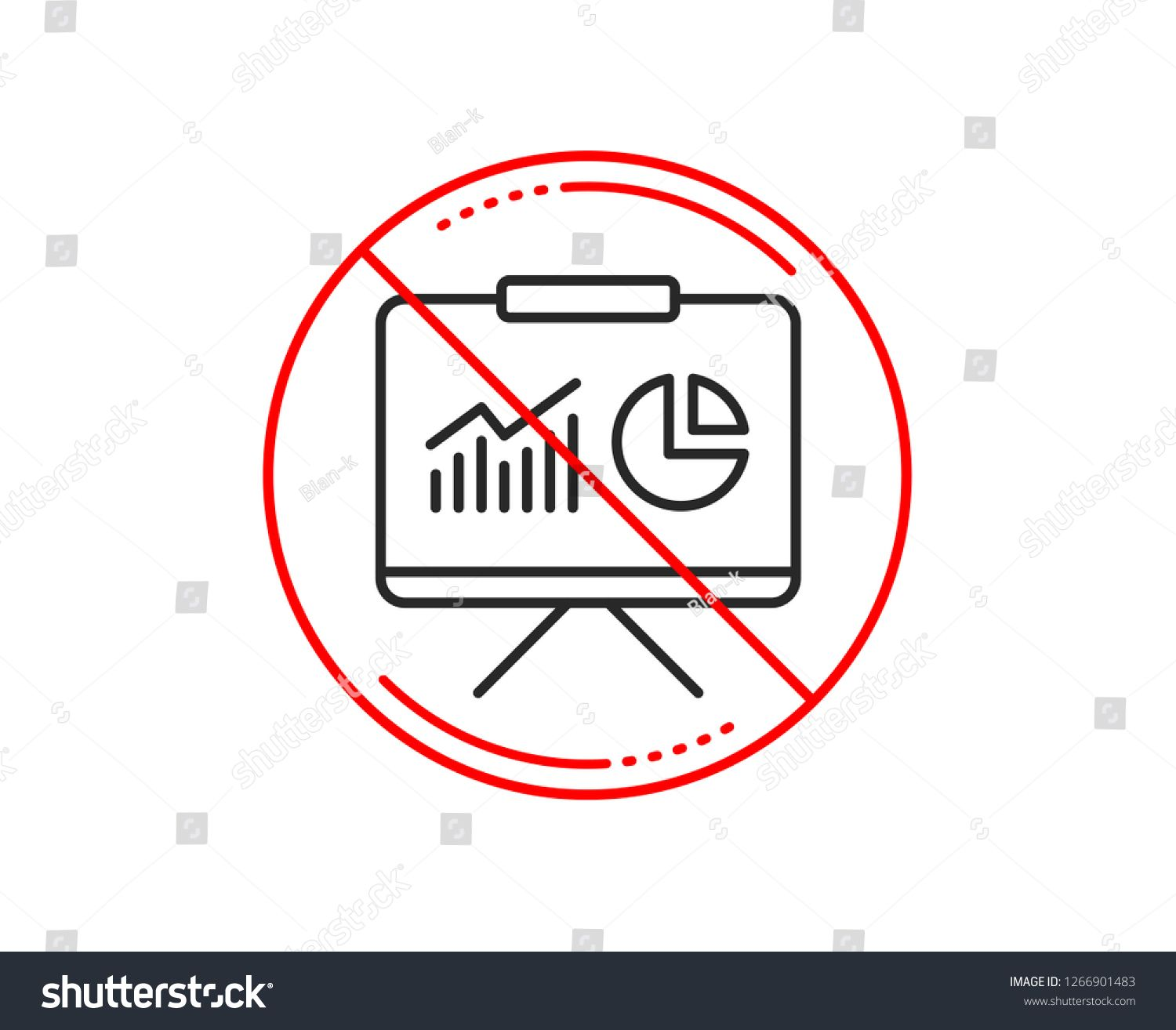 No Or Stop Sign Presentation Board Line Icon Report Chart Or