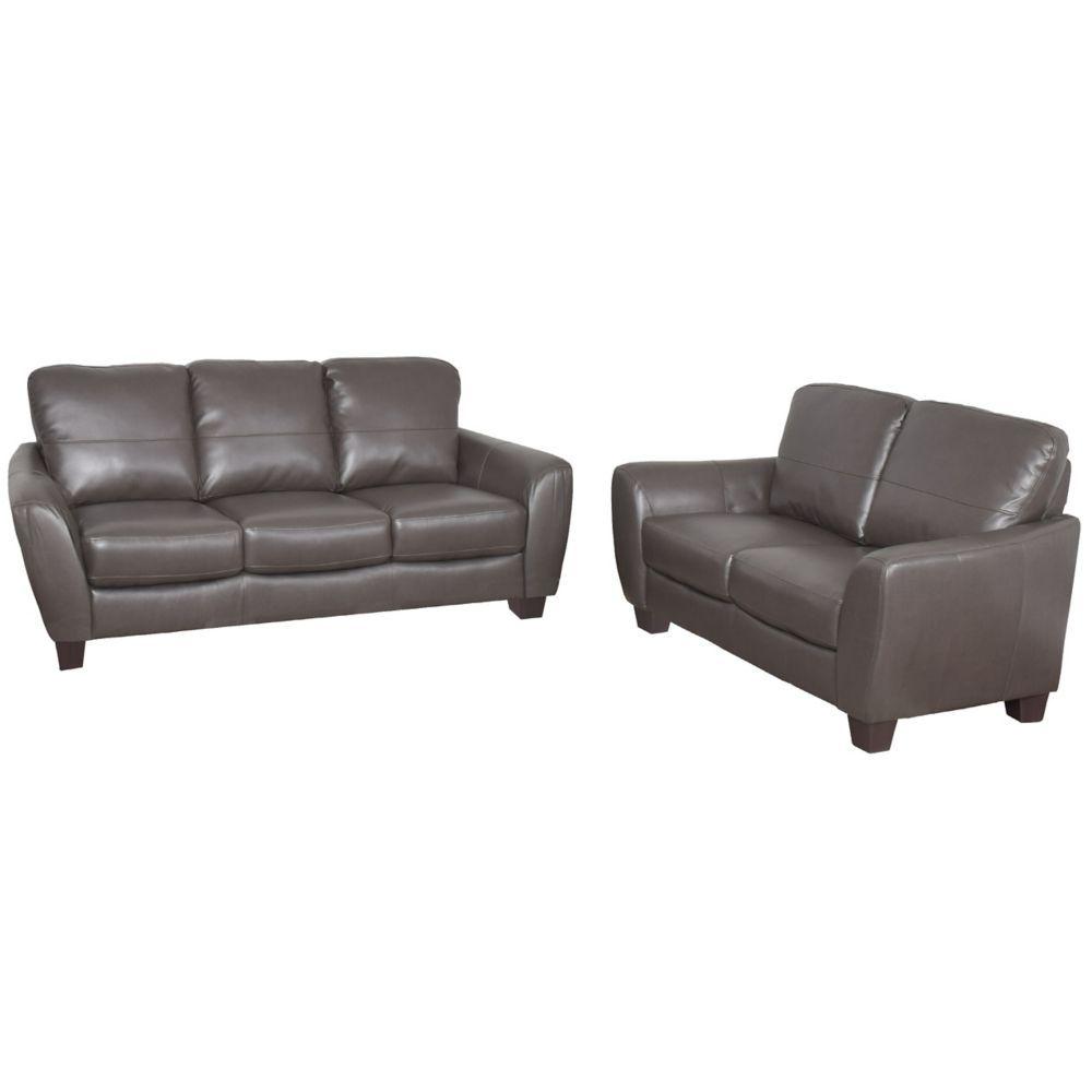 Jazz 2 Piece Brownish Grey Bonded Leather Sofa Set