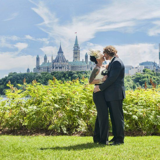 Check out this elopement photo session at Ottawa City Hall (The bride has a wedding jumpsuit!) (via Chantal Benoit Photographer)