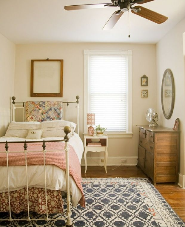 Antique Iron Bed, Red Comforter, Antique Dresser, Blue And