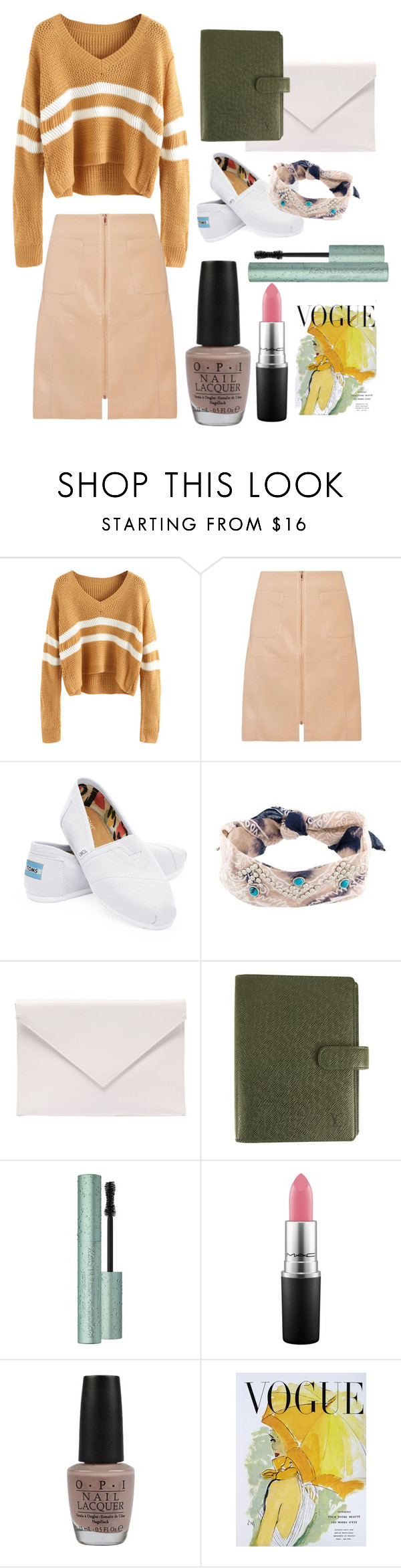 """#6 BTS"" by avocat ❤ liked on Polyvore featuring Dorothy Perkins, TOMS, DANNIJO, Verali, Louis Vuitton, Too Faced Cosmetics, MAC Cosmetics, OPI and Art for Life"
