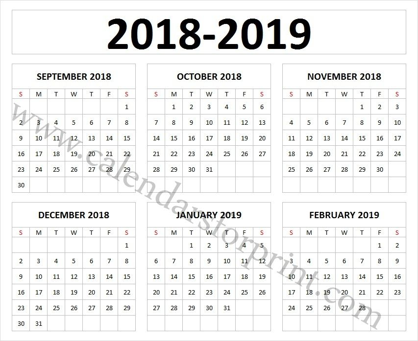 September 2018 to February 2019 Calendar Templates Free Download One