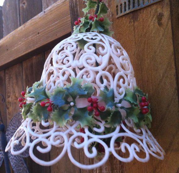 Plastic Mistletoe Bell Large Vintage Mistletoe Christmas Bell