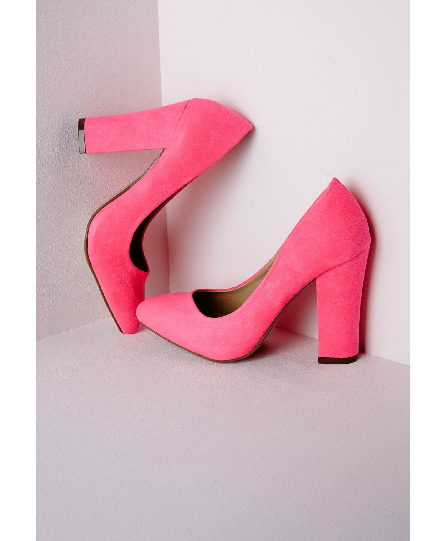 546260557fe Block Heel Court Shoes Neon Pink - Shoes - High Heels - Missguided ...