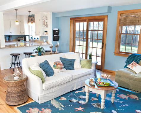 Best Blue Coastal Living Room With Sea Life Rug Drawer Chest 400 x 300
