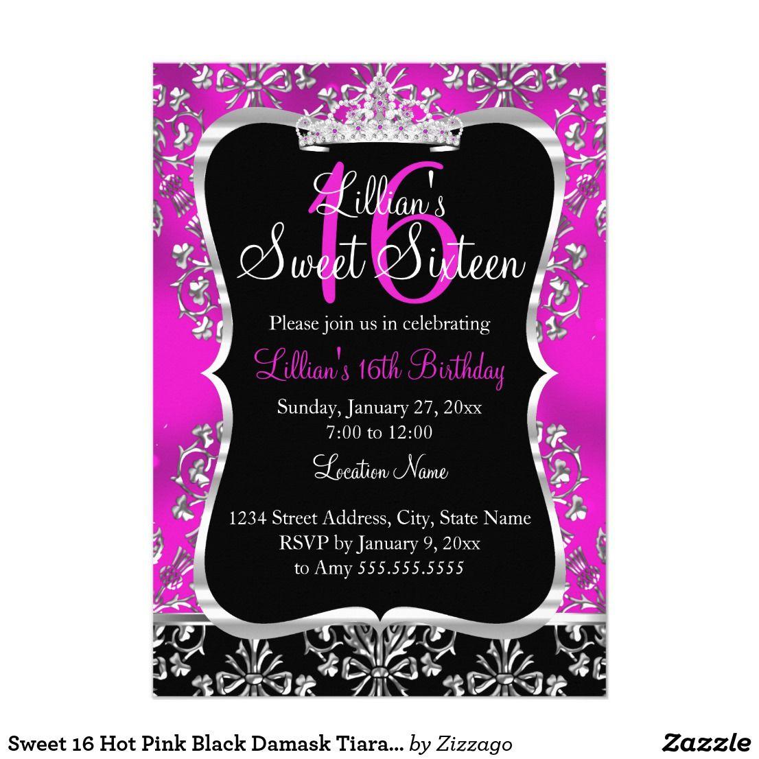 Sweet 16 Hot Pink Black Damask Tiara Invitation   Sweet 16, Sweet 16 ...