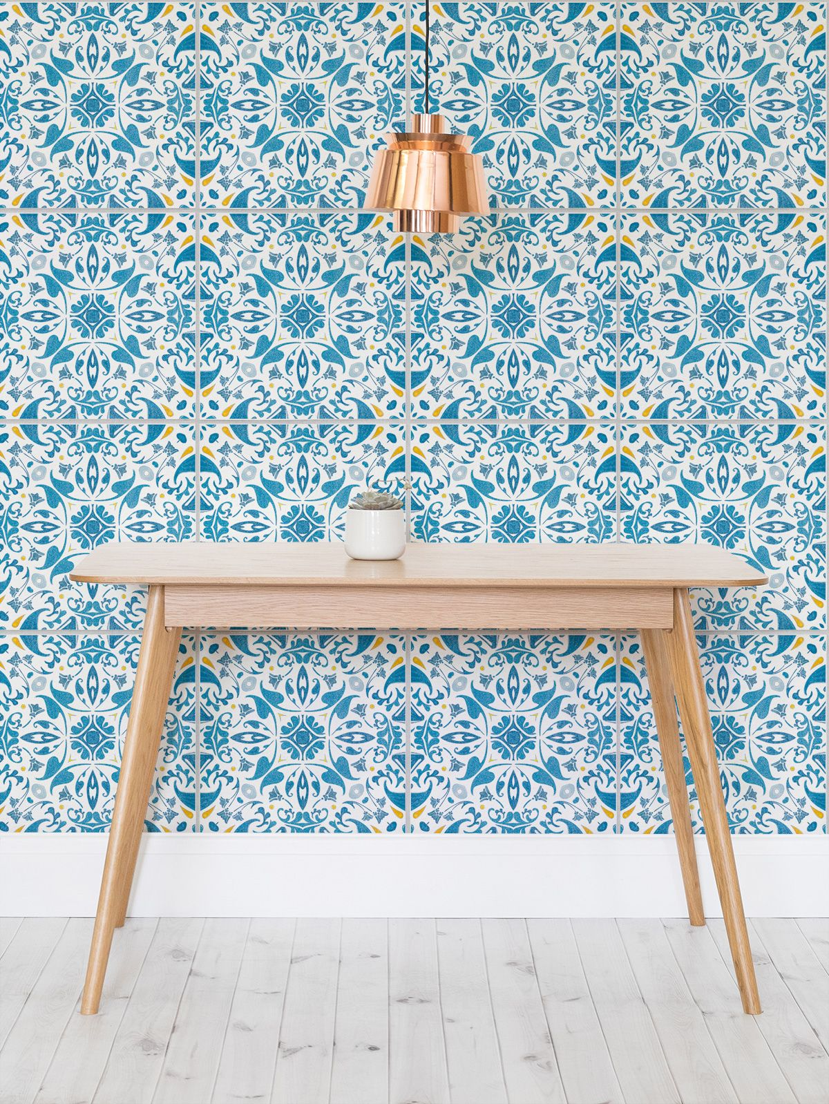 Portuguese Tile Wallpaper Orange Blue Tiles Muralswallpaper
