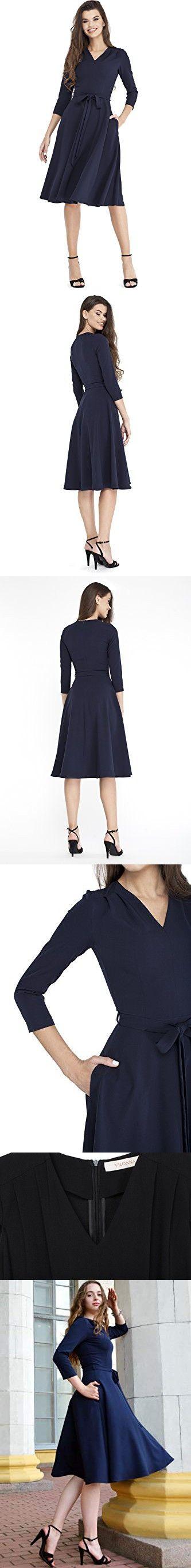 09df5b96065 VILONNA Women s Elegant Modest 3 4 Sleeve V Neck Belted Semi Formal Midi  Dress with Pockets