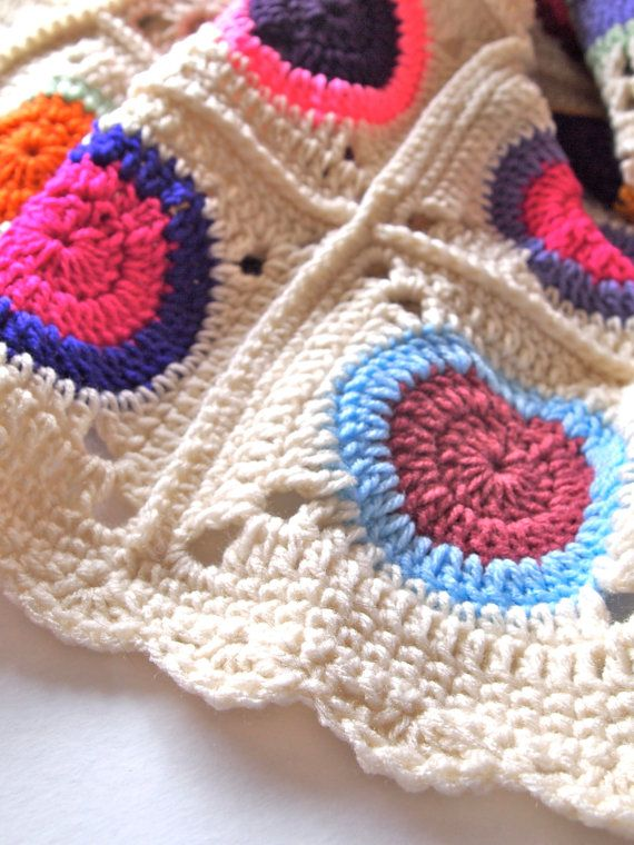Colorful afghan blanket crochet throw in granny by mostlyjonah.etsy ...