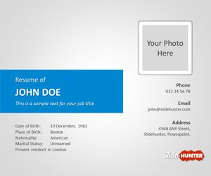 Free Resume PowerPoint Template is a free CV template that ...
